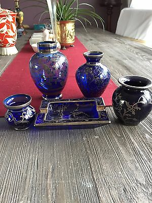 Stunning Vintage Crystal Cobalt Blue Silver Inlaid Glass Collection - 5 Pieces