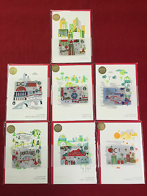 7 New Starbucks 2016 Holiday City Gift Cards Limited Houston Sd Dc Seattle Oc...