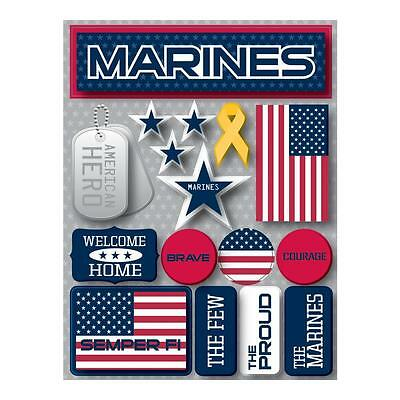 Scrapbooking Crafts Stickers 3D Marines American Hero Tags The Few Proud Flag