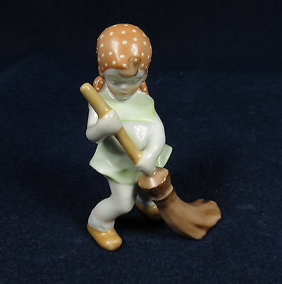 "Vintage Herend Peasant Girl Sweeping Porcelain Hand Painted 3.75"" Tall Figurine"