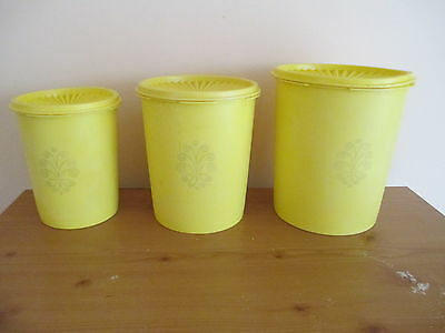 VINTAGE TUPPERWARE SERVALIER CANISTER SET, DAFFODIL YELLOW, 807 809 811 w/ SEALS