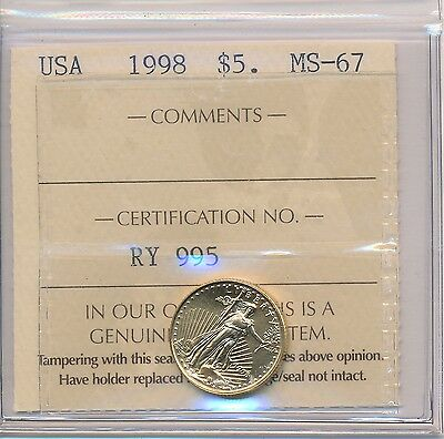 1998 ICCS MS-67 USA $5 Gold Eagle Coin; 0.1000ozt AGW; NO TAX