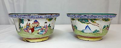 Wonderful Antique Chinese 1920s Qing  Dynasty Enamel Cups With Detail