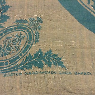 Amazing HAND-WOVEN DAMASK LINEN TABLECLOTH of SCOTLAND 2-tone reversible 58x53""