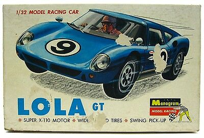 Vintage 1960's Monogram Lola GT 1/32 Slot Car w/Box & Competition Tiger Chassis