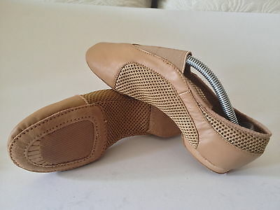 NEW Central Elastic Mesh/Leather Tan Jazz Dance Shoes Size Adult 9 AU