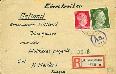 LATVIA GERMANY: 1943 Registered Cover From Litzmannstadt