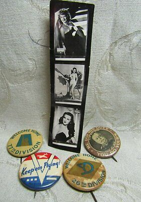 WWII 26th and 77th Division, Keep 'em Flying Button Pins - Yank Magazine Pinups