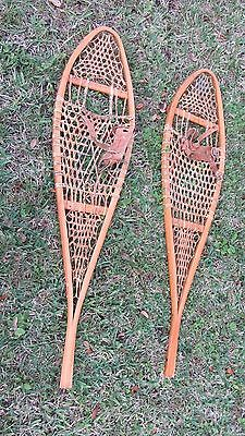 Vintage Wood And Raw Hide Snow Shoes Le Huron