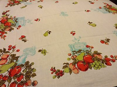 LOVELY Vtg  COTTON TABLECLOTH Fruit Strawberry, Pear, Apple, Grapes, etc 51x45""