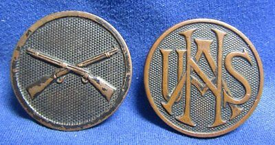 WWI USNA National Army and Army Infantry Enlisted Discs Lot Of 2 - GREAT SHAPE