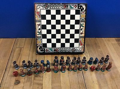 Vintage Hand Painted Miniature Chess Set w/Board