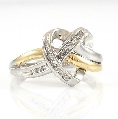 10K Yellow White Gold Natural Diamond Heart Knot Ring Size 7 QR1