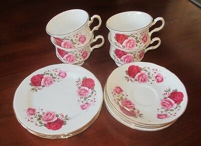 Vintage Queen Anne Bone China 'Four Set' Trio Tea Cup, Saucer & Plate