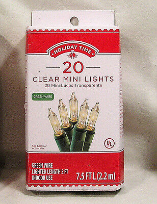 Christmas Lights Craft Decor. 20 Clear Mini Lights by Holiday Time, Green Wire