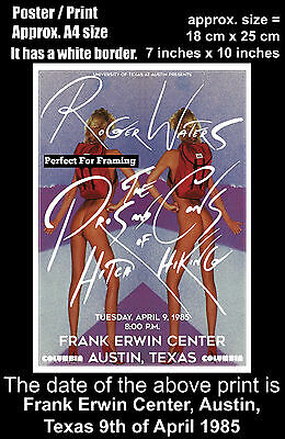 Roger Waters live concert Austin, Texas 9th of April 1985 A4 size poster print