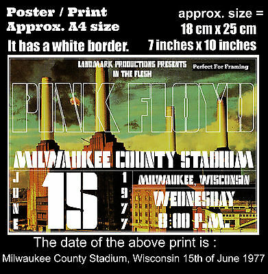 Pink Floyd live concert Milwaukee Wisconsin 15th of June 1977 size poster print