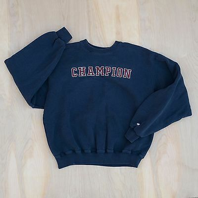 Vintage 90s Champion Embroidered Front Spell Out Sweatshirt Size Large