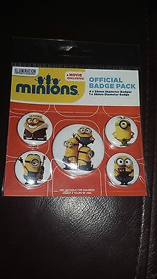Minions official badge pack 5 badge pack NEW