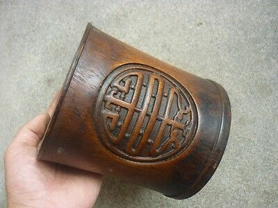 Antique Chinese ancient writers collection woodcarving xi pen container A1++
