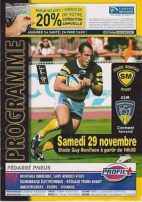 Collection Rugby Programme Stade Montois - Clermont Auvergne 29/11/2008 Top 14