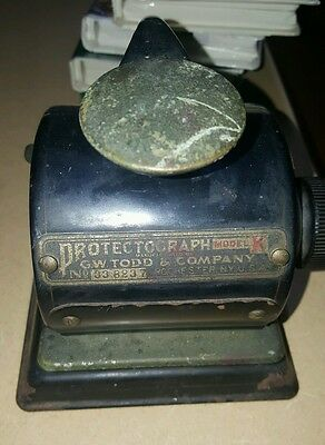 Antique Protectograph Model K G.W. Todd Company Check Writer 1B