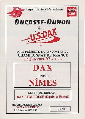 Collection Rugby Programme US Dax - Nimes Rugby 12/01/1997