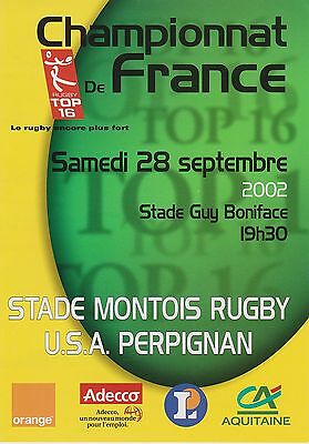 Collection Rugby Programme Stade Montois - USA Perpignan 28/09/2002 Top 16