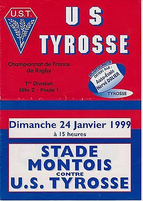 Collection Rugby Programme US Tyrosse - Stade Montois 14/01/1999 Elite 2
