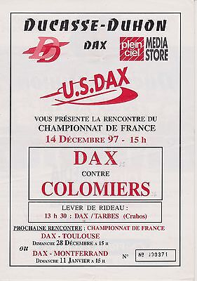 Collection Rugby Programme US Dax - Colomiers 14/12/1997
