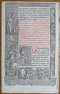 Book of Hours Leaf Hardouin Woodcut Border Satan Michael Demon - 1510