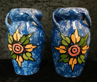 Royal Torquay Pottery pair of 3 Handled Vases