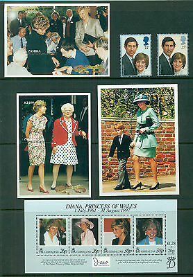 DIANA PRINCESS OF WALES Mint Never Hinged COLLECTION OF MINISHEETS and STAMPS
