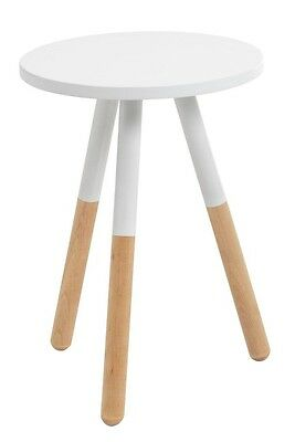White Lacquered Birch Wood Bedside Side Table NEW Skandi Nordic Minimalist 45cm