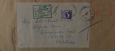Great Britain 1971 Meter Mark Cover Reused With Economy Label + Postage Due