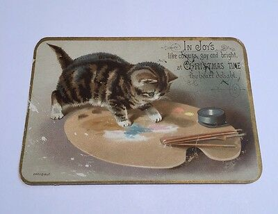 Victorian Greetings Card.  Kitten And Paints