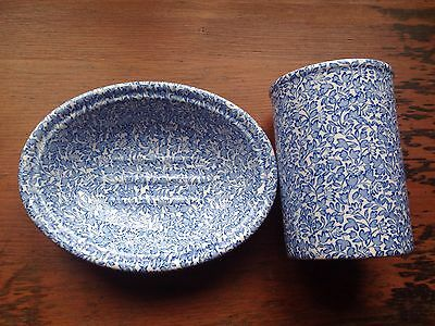 Mason's Crabtree & Evelyn Soap Dish And Tumbler. Excellent Condition. Blue/white