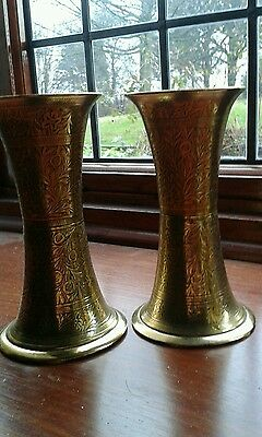 Pair of Indian Brass Islamic Style Vases