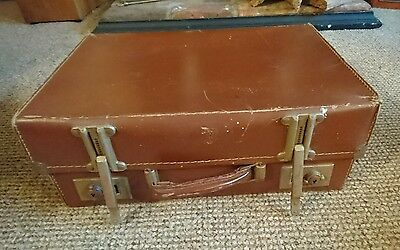 Vintage brown shabby chic suitcase for display or prop. Adjustable