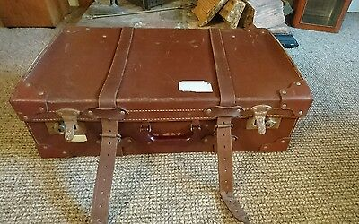 Unusual Vintage leather brown shabby chic suitcase for display or prop