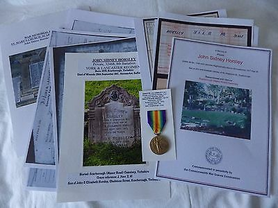WW1 Vic Medal DoW 1917 32468 PTE JOHN S HORSLEY York & Lancs Y&L Photo Research
