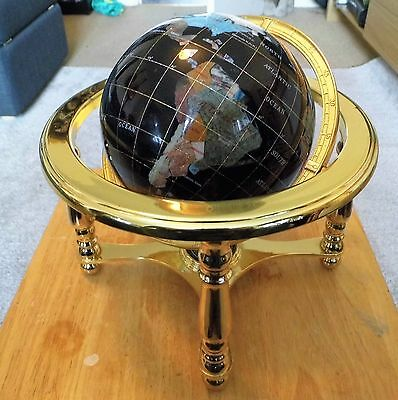"6"" Gemstone Globe Semi Precious Stones On Brass Stand, Two Sided Black/white"