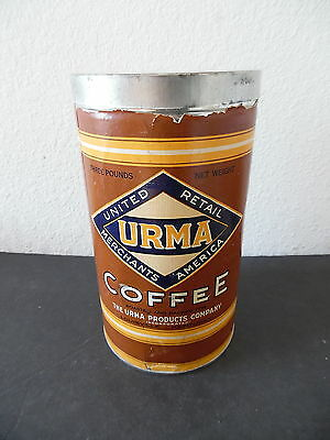 Antique 3 Pound Paper Label Urma Coffee Can Tin Container Kentucky