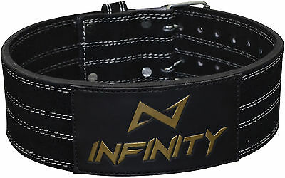 INFINITY Weight Lifting Nubuck Leather Power Belt Back Support Gym Dip Training
