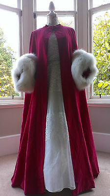 Norman Hartnell Red Velvet and Fur Opera Cloak