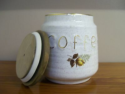 Cornish - KERNEWEK - Pottery Coffee Container - Autumn Rose Design