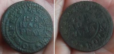 Ext Rare brockage LANCASHIRE Manchester Williamson 71 W. Bowker 1665 halfpenny