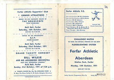 Opening of floodlights:-FORFAR ATHLETIC v ABERDEEN 1971/2.