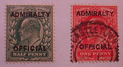 Edward VII: Admiralty: ½d blue-green (mint); 1d scarlet (used) - o'print. L10.