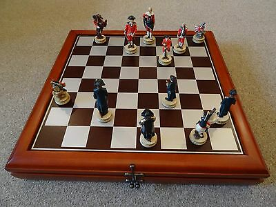 (NEW) American War Of Independence (Vs British) Chess Set, Storage Cabinet Board